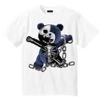 RARETE (ラルテ)    テディベア ガイコツ 鎖 (紺色)   Tシャツ ホワイト
