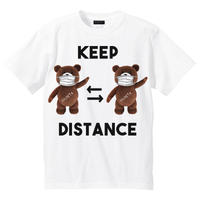 RARETE (ラルテ)  KEEP DISTANCE テディベア【茶色】 Tシャツ ホワイト