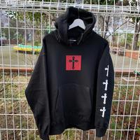 RARETE (ラルテ)   十字架   Red black パーカー ブラック