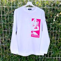 RARETE (ラルテ)  リリンモンロー 蛍光 ピンク  ホワイト  長袖Tシャツ