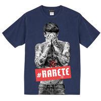 RARETE (ラルテ)  タトゥー ボックスロゴ  Tシャツ ネイビー (ピグメント加工)