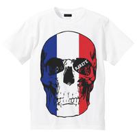 RARETE (ラルテ)   ドクロ スカル フランス国旗   Tシャツ ホワイト