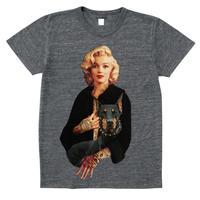 RARETE (ラルテ)   マリリンモンロー ドーベルマン タトゥー  グレイブラック  Tシャツ