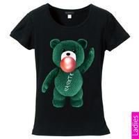 RARETE (ラルテ)   テディベア ガム 緑色 Tシャツ Tシャツ  ブラック  星柄 star (レディース)