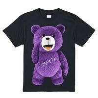 RARETE (ラルテ)  テディベア あっかんベー!【紫色】 Tシャツ ブラック