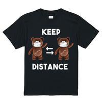 RARETE (ラルテ)  KEEP DISTANCE テディベア【茶色】 Tシャツブラック