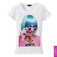 RARETE (ラルテ)   ウインク サングラス GIRL Tシャツ ホワイト  星柄 star (レディース)