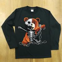 RARETE (ラルテ)  テディベア ガイコツ 鎖 ブラック  長袖Tシャツ