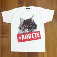 RARETE (ラルテ)  入手困難  猫 デビットボウイ  イナズマ Tシャツ ホワイト  星柄 star