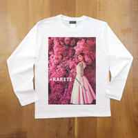 RARETE (ラルテ) Hepburn pink flower   ホワイト  長袖Tシャツ