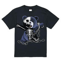 RARETE (ラルテ)    テディベア ガイコツ 鎖 (紺色)   Tシャツ ブラック