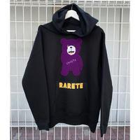 RARETE (ラルテ)  RARETE (ラルテ) テディベア あっかんベー!【ムラサキ】 モコモコ刺繍 パーカー ブラック  パーカーブラック