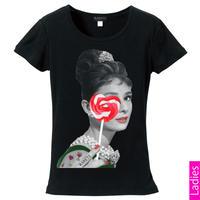RARETE (ラルテ)   Hepburn キャンディー ハート  Tシャツ  ブラック  星柄 star (レディース)