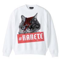 RARETE (ラルテ) cat 猫  デビットボーイ スエット ホワイト  星柄 star(裏パイル)