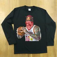 RARETE (ラルテ)  バスケット 鬼 タトゥー ブラック  長袖Tシャツ
