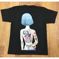 RARETE (ラルテ) 人形 後ろ姿 Tatoo  Tシャツ  ブラック  星柄 star  バックプリント ボックスロゴ