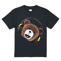 RARETE (ラルテ) ヘッドホン テディベア face  Tシャツ ブラック