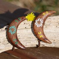 ウッドへアゴム 麻と月手彫り天然石