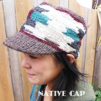 ネイティブニットキャップ 手編み