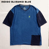 TEPPO T-shirts with Pocket INDIGO BLUE×Mid night blue / Hemp
