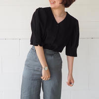 puff sleeve blouse (BLK)