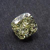 【6/7掲載】イエローダイヤモンド 0.424ctルース(LIGHT YELLOW, VVS2,クッションカット)