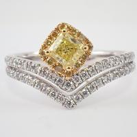 【2/9更新】Pt900/K18イエローダイヤモンド0.406ct リング(Fancy Intense Yellow,SI-1)