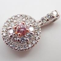 【2/8掲載】Pt900ピンクダイヤモンド0.134ct ペンダントトップ(ネックレストップ)