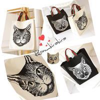 猫柄キャンバストートバッグ