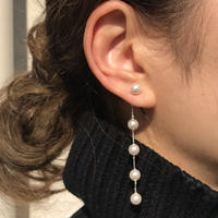 【ラスト1】silver925 Pearl chain Drop pierce <Style No.010904-97>