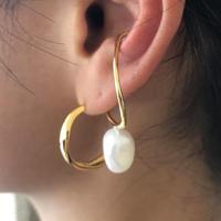 silver925  K18GP  Drop Pearl Earcuff /1P〈StyleNo.010904-86〉