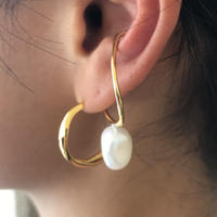 silver925  K18GP - Drop Pearl Earcuff -〈StyleNo.010904-86〉pink gold/1peace