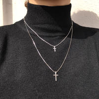 silver925 Double Cross Necklace/50.5cm〈Style No.020203-133〉