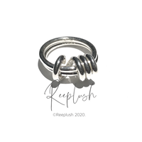 silver925 Wrap Around 2line Ring/size:#12-18