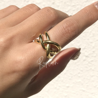silver925 K18GP Duo Ring/size:#11,13,15