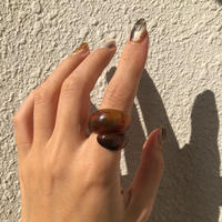 acrylic  Swirl ring / Brown/size:#13〈StyleNo.011016-38〉