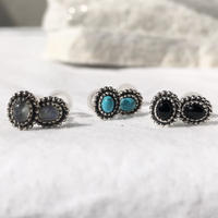 silver925 Lil Stone Pierce/moon stone,turquoise,onyx<Style No.020203-64>