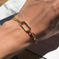 silver925 K18GP Mix Chain Bracelet -〈StyleNo.010904-66〉