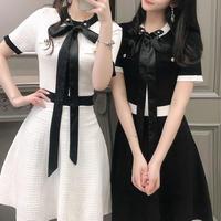 ツイード リボン フェミニン ドレス