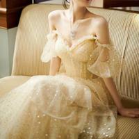 オフショルダーパーティー 結婚式 イブニングドレス