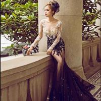 Vネック 袖付き 透かし彫り アップリケ レース刺繍 ロング イブニングドレス パーティー ドレス