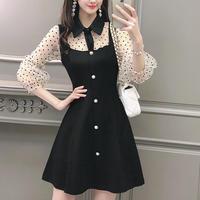 ドット タートル スリーブ ブラック ドレス