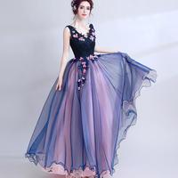ロング パーティ 結婚式 宴会 華やか 藍色 花 ドレス