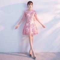 ピンク レースパーティードレス 結婚式 二次会 発表会 ママ 衣装