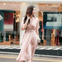 シフォンドレス フェミニン スリム 韓国 スリーブシフォン スカート ドレス