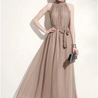ホルターネック シフォン   パーティ  結婚式 ドレス