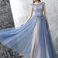 花柄 レース ビジュー スレンダー ブルー ドレス