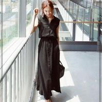ウエストリブ ロング シャツ 2色 パーティー ドレス