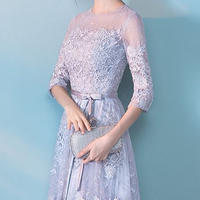 ミディアム丈 透け感 七分袖 結婚式 ブライドメイド ドレス