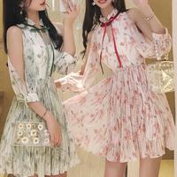 スリーブ カッティング 花柄 シフォン ドレス